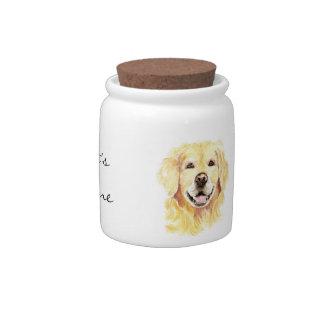 Original Watercolor Golden Retriever, Dog Treats Candy Jar