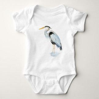 Original watercolor Great Blue Heron Bird Baby Bodysuit