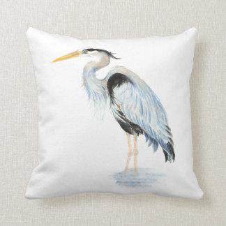 Original watercolor Great Blue Heron Bird Pillow