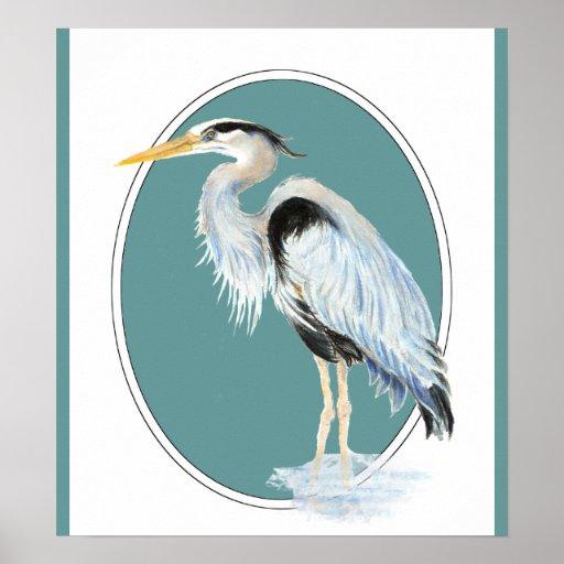 Original Watercolor Great Blue Heron Bird Print