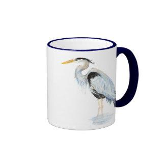 Original watercolor Great Blue Heron Bird Ringer Mug
