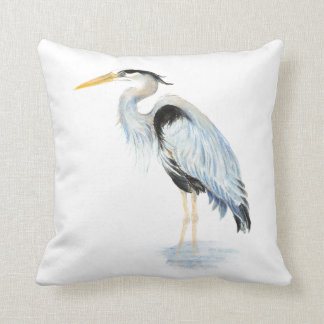 Original watercolor Great Blue Heron Bird Throw Pillow