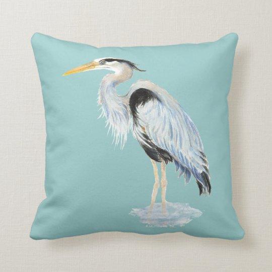 Original Watercolor Great Blue Heron Bird Throw Pillow