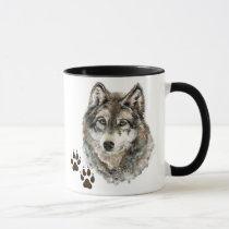 Original Watercolor Grey  Wolf- Tracks Animal Mug