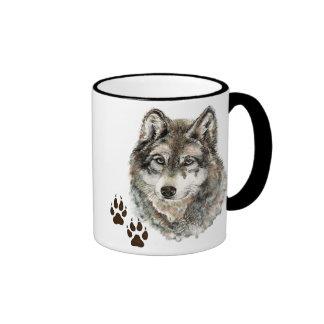 Original Watercolor Grey  Wolf- Tracks Animal Ringer Mug