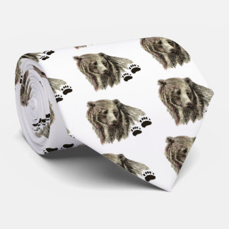 Original Watercolor Grizzly Bear Animal Nature Neck Tie