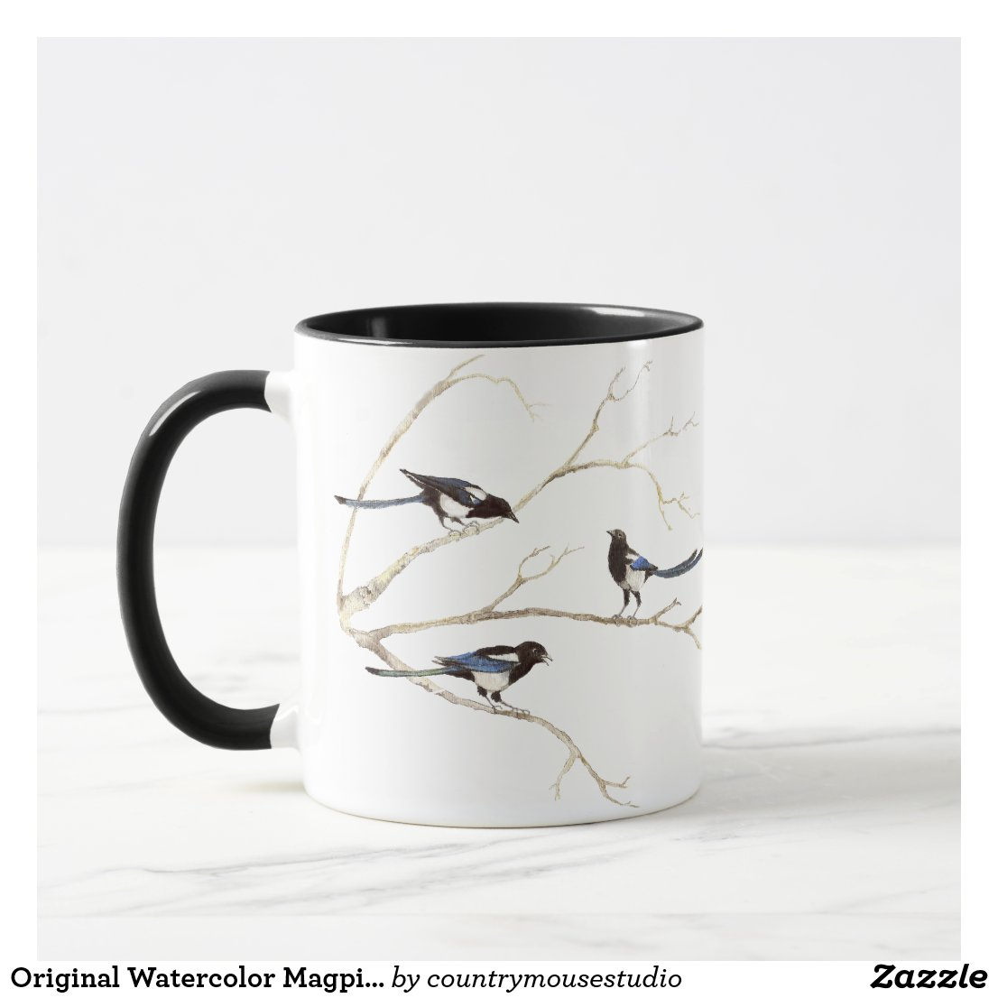 Original Watercolor Magpie Family, Bird Mug