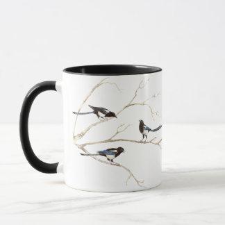 Original Watercolor Magpie Family, Bird Mug