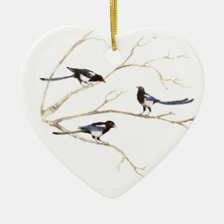 Original Watercolor, Magpie Family, Birds Double-Sided Heart Ceramic Christmas Ornament