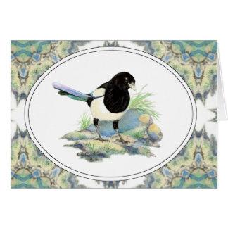 Original Watercolor Magpie Garden Bird Greeting Card