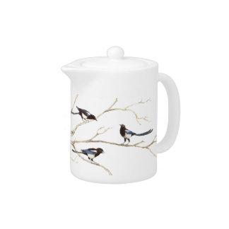Original Watercolor Magpie Garden Bird Family Teapot