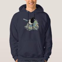Original Watercolor Magpie Garden Bird Hoodie