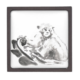 Original Watercolor Monkey Year 2016 Jewelry Box