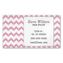 original watercolor pink chevron zigzag business card magnet