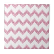 original watercolor pink chevron zigzag ceramic tile