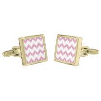 original watercolor pink chevron zigzag cufflinks