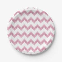 original watercolor pink chevron zigzag paper plate