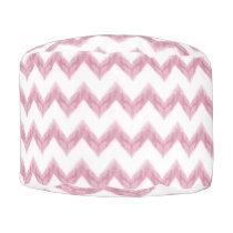 original watercolor pink chevron zigzag pouf
