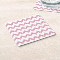 original watercolor pink chevron zigzag square paper coaster