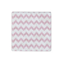 original watercolor pink chevron zigzag stone magnet