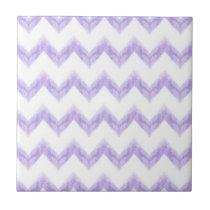 original watercolor purple chevron zigzag ceramic tile
