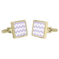 original watercolor purple chevron zigzag cufflinks