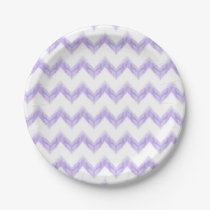 original watercolor purple chevron zigzag paper plate