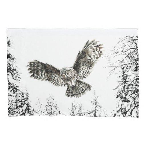 Original Watercolor Striking or Hunting Owl Bird Pillow Case