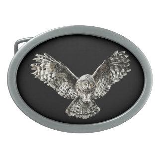 Original Watercolor Striking Owl Oval Belt Buckle
