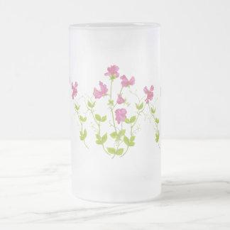 Original Watercolor Sweet Pea, Garden Flower Frosted Glass Beer Mug