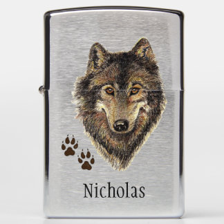 Original Watercolor Wolf & Tracks Animal Custom Zippo Lighter