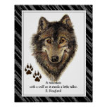 Original Watercolor Wolf, Tracks Mountain Quote Poster