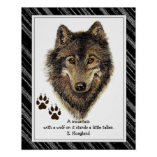 Original Watercolor Wolf, Tracks Mountain Quote Print