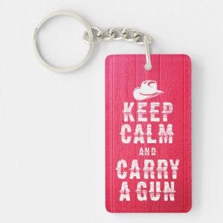 Original western style Keep calm and carry a gun, Single-Sided Rectangular Acrylic Keychain