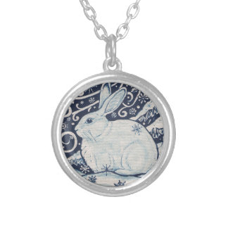 Original Winter Christmas Rabbit Blue & White Silver Plated Necklace