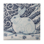 """Original Winter Christmas Rabbit Blue &amp; White Tile<br><div class=""""desc"""">My original,  copyrighted blue and white winter rabbit design is also great for Christmas,  on a variety of Zazzle products.</div>"""