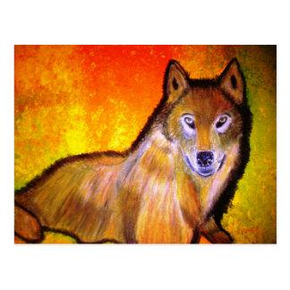 original wolf painting postcard