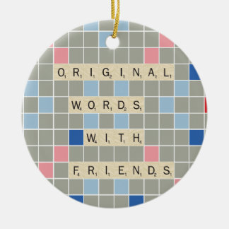 Original Words With Friends Double-Sided Ceramic Round Christmas Ornament