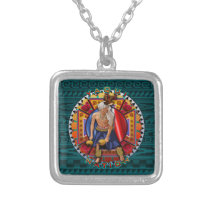 Original Yaqui Nation Deer Dancer Silver Plated Necklace