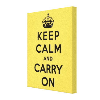 Original yellow  keep calm and carry on canvas print