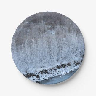 Orilla congelada plato de papel de 7 pulgadas