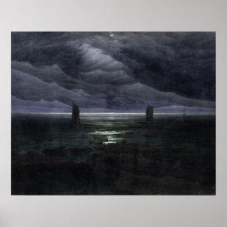 Orilla de mar en el claro de luna, 1835-36 póster