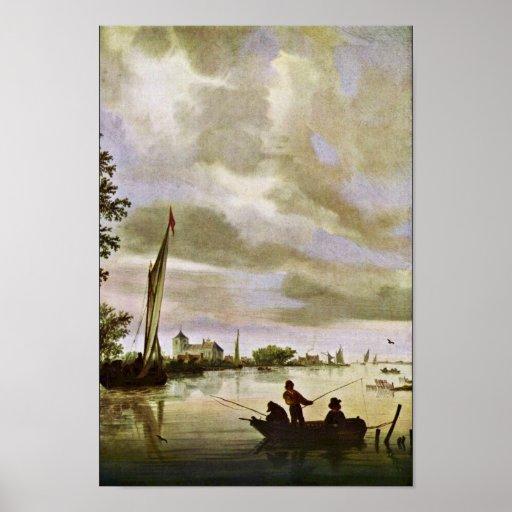 Orilla de Ruysdael Salomon Van (la mejor calidad) Póster