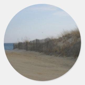 Orilla del jersey * playa ablandada pegatina redonda