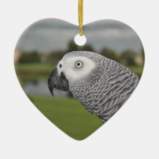 Orilla del lago del gris africano adorno de cerámica en forma de corazón