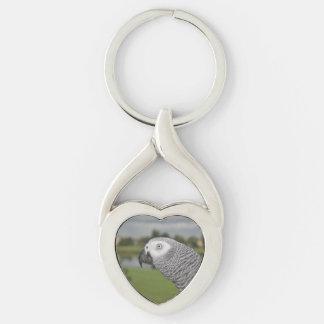 Orilla del lago del gris africano llavero plateado en forma de corazón