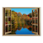 Orilla del lago del otoño de la ventana abierta impresiones