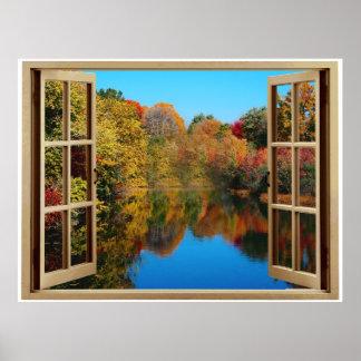 Orilla del lago del otoño de la ventana abierta póster