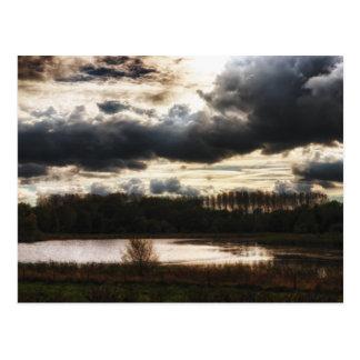 Orilla del lago en la oscuridad tarjetas postales