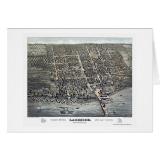 Orilla del lago, mapa panorámico del OH - 1884 Tarjeta De Felicitación